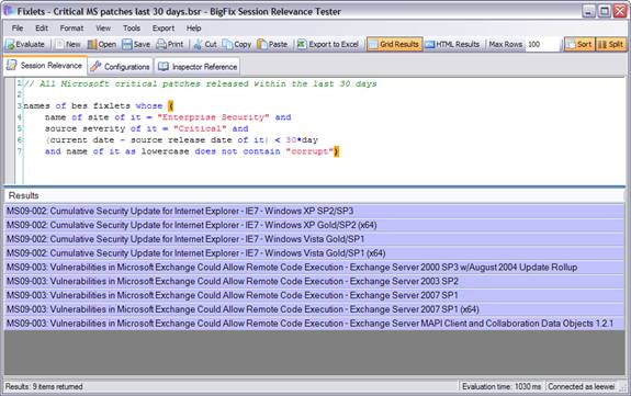 Session Relevance Editor on SRT
